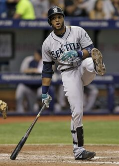 Seattle Mariners' Robinson Cano kicks up his leg as he misses a pitch from Tampa Bay Rays relief pitcher Joel Peralta during the sixth inning of a baseball game Saturday, June 7, 2014, in St. Petersburg, Fla. (AP Photo/Chris O'Meara)