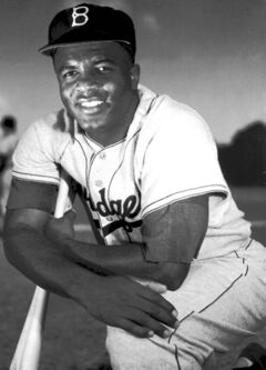 Jackie Robinson, Major League Baseball's first black player, debuted with the  Brooklyn Dodgers on April 15, 1947.