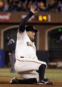 San Francisco Giants' Hunter Pence slides in safely into third base with an RBI triple during the fourth inning of a baseball game against the San Diego Padres on Monday, April 28, 2014, in San Francisco. (AP Photo/Marcio Jose Sanchez)