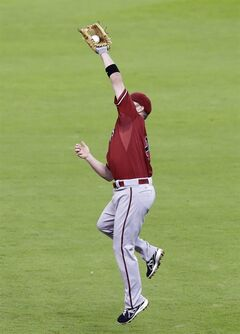 Arizona Diamondbacks second baseman Aaron Hill snags the ball before throwing to first base for the out on Houston Astros' Jon Singleton in the third inning of a baseball game Wednesday, June 11, 2014, in Houston. Astros' Jonathan Villar scored from third base on the play. (AP Photo/Pat Sullivan)