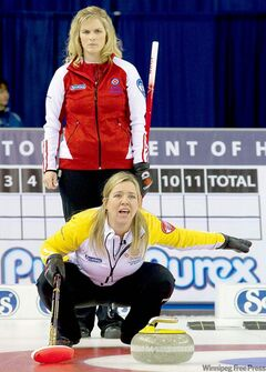 Team Canada skip Jennifer Jones (back) was no match for Manitoba skip Cathy Overton-Clapham on Wednesday.