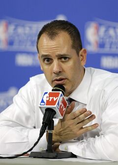 Indiana Pacers head coach Frank Vogel speaks during the post-game news conference after Game 4 in the NBA basketball Eastern Conference finals playoff series, Monday, May 26, 2014, in Miami. The Heat defeated the Pacers 102-90.(AP Photo/Wilfredo Lee)