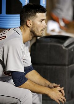 Detroit Tigers starting pitcher Rick Porcello sits in the dugout in the fifth inning of a baseball game against the Texas Rangers, Thursday, June 26, 2014, in Arlington, Texas. (AP Photo/Tony Gutierrez)