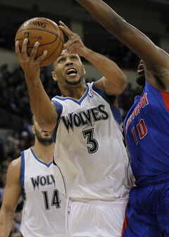 Minnesota Timberwolves' Brandon Roy against Detroit Pistons' Greg Monroe during the first half of preseason NBA action in Winnipeg on Wednesday.