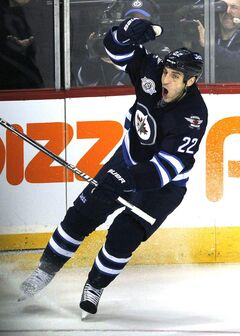 Winnipeg Jets' Chris Thorburn celebrates his goal against the Buffalo Sabres during third-period action Monday.