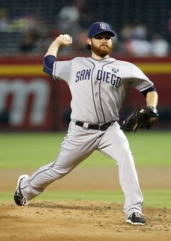San Diego Padres' pitcher Ian Kennedy delivers a pitch in the first inning against the Arizona Diamondbacks during a baseball game, Sunday, Aug. 24, 2014, in Phoenix. (AP Photo/Darryl Webb)