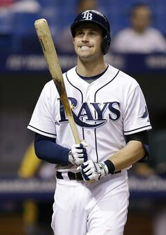 Tampa Bay Rays' Evan Longoria reacts after he struck out against Oakland Athletics relief pitcher Luke Gregerson during the eighth inning of a baseball game Wednesday, May 21, 2014, in St. Petersburg, Fla. (AP Photo/Chris O'Meara)