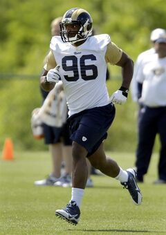 St. Louis Rams rookie defensive end Michael Sam jogs to the next drill during the team's NFL football rookie camp Friday, May 16, 2014, in St. Louis. (AP Photo/Jeff Roberson)