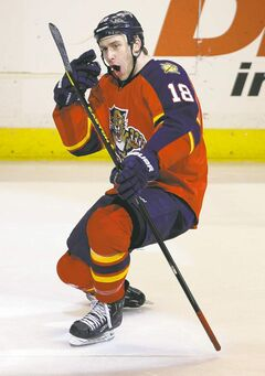 Florida's Shawn Matthias celebrates after his  second-period goal gave his club a 2-1 lead.