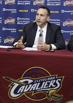 Cleveland Cavaliers new head coach David Blatt answers questions during a news conference Wednesday, June 25, 2014, in Independence, Ohio. Blatt spent the past two decades coaching in Israel, where he built a reputation as one of the international game's top coaches. The Cavaliers have the No. 1 overall selection in Thursday's draft and are expected to make a strong push to sign LeBron James. He opted out of the final two years of his Miami contract on Tuesday and is a free agent. (AP Photo/Tony Dejak)