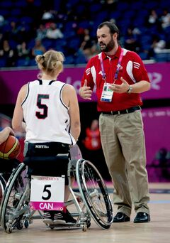 Bill Johnson is seen advising the team at the London 2012 Paralympics. Johnson, a Wolseley resident, will be coaching the Canadian Women's National Wheelchair Basketball team.