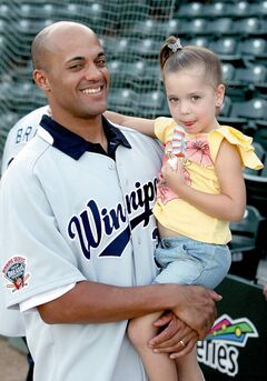 Goldeyes slugger Kevin West at the ballpark Wednesday with one of his biggest fans — daughter Payton, 4.
