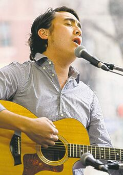 Wpg Free Press Cafe. Singer J.P. Hoe  sings at Cafe - Dan Lett story 