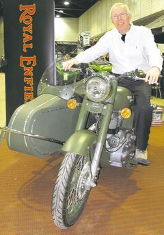 Show manager Jim Flood aboard a Royal Enfield: the show exceeded his expectations.