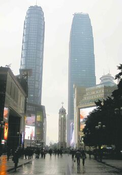 Clock tower monument, previously the tallest structure in Chongqing.