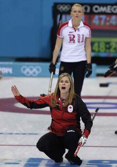 Canada's skip Jennifer Jones shouts to her teammates during their match against Russia Saturday in Sochi.