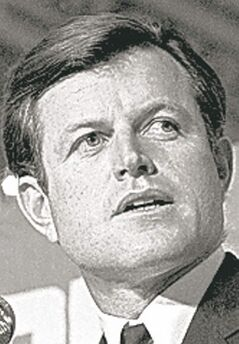 FILE - In this Wednesday, Oct. 15, 1969 file photo, Sen. Edward Kennedy D-Mass., addresses the World Affairs Council, in Boston. Although Kennedy's role in the car accident that took the life of Mary Jo Kopechne, a young worker in Robert Kennedy's campaign, helped destroy his presidential hopes, he went on to become one of the longest and most productive senators in the country's history, serving 47 years until his death from brain cancer in 2009. Rep. Anthony Weiner, the most recent politician embroiled in a sex scandal, has said he isn't resigning despite acknowledging he sent sexually charged photos and messages to women. (AP Photo/File)