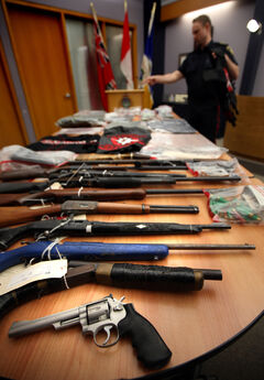 Police show off an array of evidence taken from the Manitoba Warriors street gang today at the morning police media briefing as a result of an investigation called Project Falling Star. 57 suspects with ties to the Manitoba Warriors are facing charges. The police also seized various drugs, guns, other weapons and ammunition and cash. More to come.