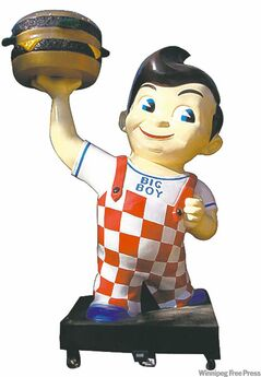 Standing more than four-metres-tall, this 1950s-era Big Boy statue is offered for sale in the automobilia area of the auction.