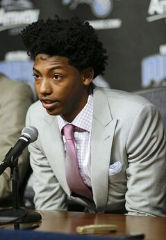 Orlando Magic draft pick Elfrid Payton answers questions at a news conference introducing him as a new member of the NBA basketball team, Friday, June 27, 2014, in Orlando, Fla. (AP Photo/John Raoux)