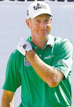 Leader Jim Furyk never got a chance to tee off.
