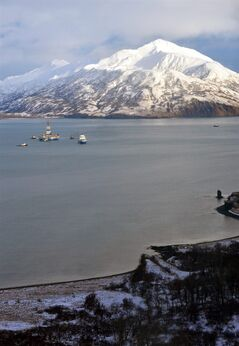 This aerial photo shows the Shell floating drill rig Kulluk in Kodiak Island, Alaska's Kiliuda Bay on Monday afternoon, Jan. 7, 2013, as salvage teams conduct an in-depth assessment of its seaworthiness. The Kulluk, which ran aground a week ago on Sitkalidak Island near Kodiak, was taken to Kiliuda Bay for repairs and a survey. (AP Photo/Kodiak Daily Mirror, James Brooks)