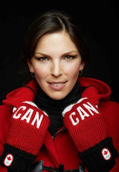 Snowboarder Caroline Calvé in Canadian uniform.