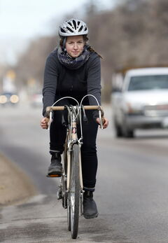 Rebecca Ward continues to ride her bike along Academy Road despite being hit by a car in the area a year ago.