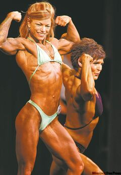 About 170 bodybuilders took part at the novice championship of the Manitoba Amateur Body Building Association Saturday. Coco Kissack and Debbie Rotoff compete in the Master Women division.