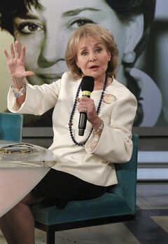 This image released by ABC shows Barbara Walters speaking during a taping of her final co-host appearance on