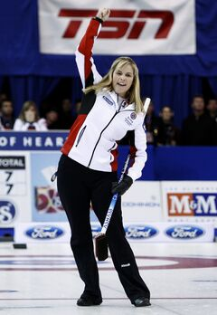 Team Canada skip Jennifer Jones reacts on her final shot to defeat Team Prince Edward Island 8-7 during final game action at the 2010 Scotties Tournament of Hearts in Sault Ste. Marie, Ont., on Sunday.