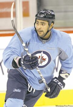 Jets blue-liner Dustin Byfuglien will have his ice time carefully monitored tonight after more than a month on the shelf.