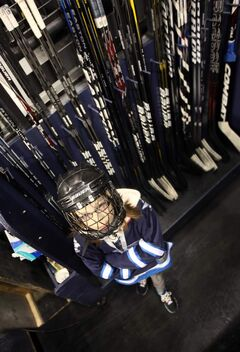 Sophie Riel inside the Jets' equipment area. She was assistant equipment manager for the big game against the New York Rangers.