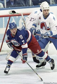 Jets' Keith Tkachuk vs. Nordiques, 1992.