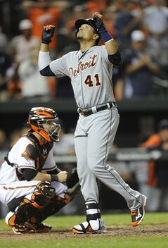 Detroit Tigers' Victor Martinez reacts after hitting a solo home run against the Baltimore Orioles in the ninth inning of a baseball game Tuesday, May 13, 2014, in Baltimore. The Tigers won 4-1. (AP Photo/Gail Burton)