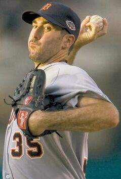 Detroit Tigers starting pitcher Justin Verlander throws against the Los Angeles Angels at Angel Stadium of  Anaheim on Tuesday, July 5, 2011, in Anaheim, California. (Kevin Sullivan/Orange County Register/MCT) close cut closecut