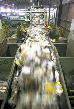 Recyclables are sorted at Emterra's Henry Avenue plant.