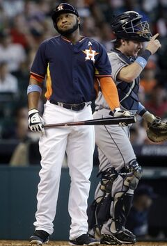 Houston Astros' Jon Singleton reacts after striking out in the bottom of the ninth inning to lose to the Tampa Bay Rays 4-3 during a baseball game, Sunday, June 15, 2014, in Houston. (AP Photo/Patric Schneider)