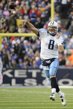 Tennessee Titans quarterback Matt Hasselbeck throws against the Buffalo Bills during the first half of an NFL football game in Orchard Park, N.Y., Sunday, Dec. 4, 2011. (AP Photo/Gary Wiepert)