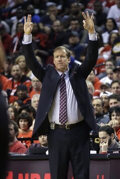 Portland Trail Blazers head coach Terry Stotts directs his team during Game 3 of a Western Conference semifinal NBA basketball playoff series against the San Antonio Spurs, Saturday, May 10, 2014, in Portland, Ore. (AP Photo/Rick Bowmer)