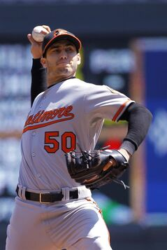 Baltimore Orioles starting pitcher Miguel Gonzalez delivers to the Minnesota Twins during the second inning of a baseball game in Minneapolis, Sunday, May 4, 2014. (AP Photo/Ann Heisenfelt)