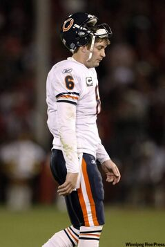 Chicago Bears quarterback Jay Cutler walks off the field after throwing an interception to San Francisco 49ers safety Michael Lewis in the end zone in the fourth quarter of an NFL football game in San Francisco, Thursday, Nov. 12, 2009.