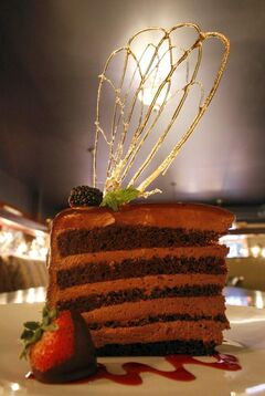 The decadently delicious Callebaut Chocolate Sin Cake at Step'n Out.