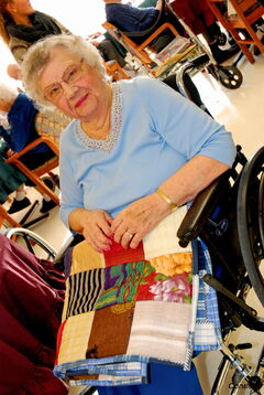 Helen Sul was one of 86 residents of Heritage Lodge who received a quilt from the Alzheimer Society of Manitoba last week.