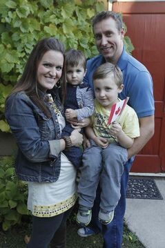 Nattrass with her husband, Damian, four-year-old Max and Jackson, 1.