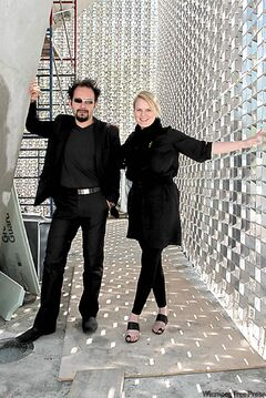 Architects Sasa Radulovic, left, and Johanna Hurme inside The Cube, the new Exchange District stage that entertains with or with­out the help of performers.