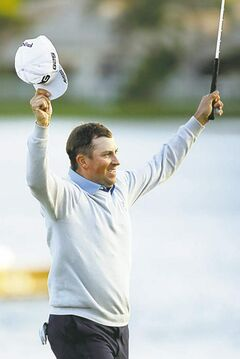 Michael Thompson celebrates winning the Honda Classic Sunday.