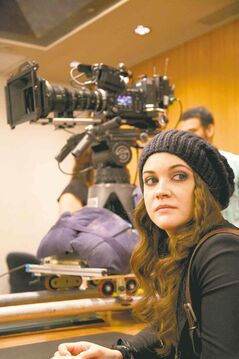 Sierra Noble on the set of WindCity.