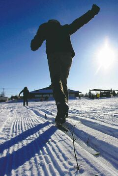 New skiers at the fifth annual Snow Trek at the Living Prairie Museum.