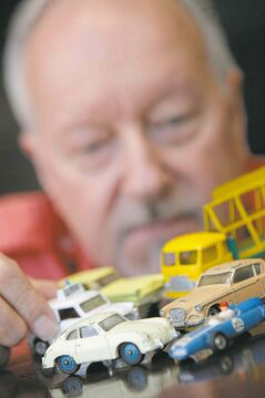 Harold Taylor with his Dinky cars.